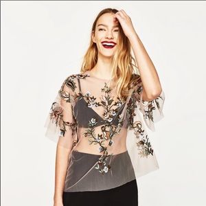Zara TULLE EMBROIDERED BLOUSE